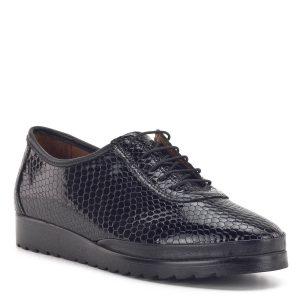 Anna Viotti fekete fűzős női cipő lakk bőrből, puha bőr béléssel