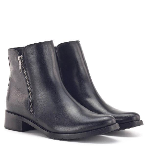 Bioeco bokacsizma bőrből, fekete színben, meleg textil béléssel