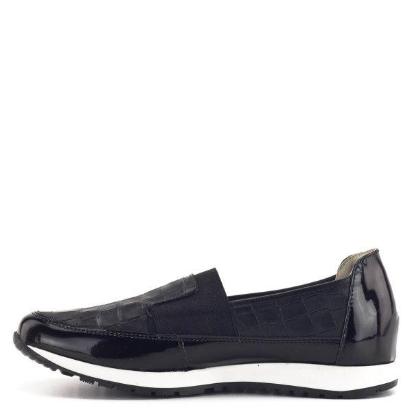 Carla Ricci cipő kígyómintával, fekete színben