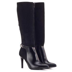 Női alkalmi csizma fekete színben, bőrből, 9 centis sarokkal