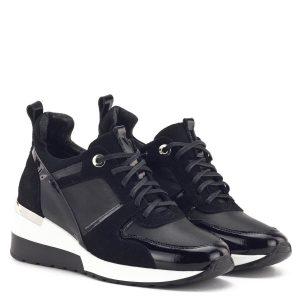 Oleksy sneakers cipő fekete színben, emelt sarokrésszel, telitalpú