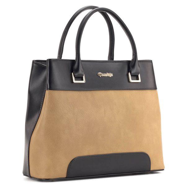 Prestige táska fekete-barna színkombinációban osztott belsővel