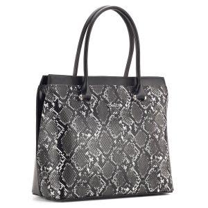 Fekete kígyómintás Prestige táska osztott belső térrel