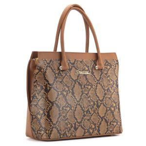 Barna kígyómintás Prestige táska osztott belső térrel
