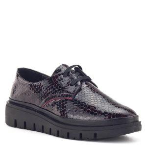 Sherlock Soon női cipő bordó színben, kígyó mintás bőrből