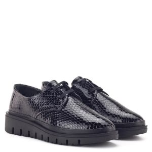 Sherlock Soon női cipő fekete színben, kígyó mintás bőrből
