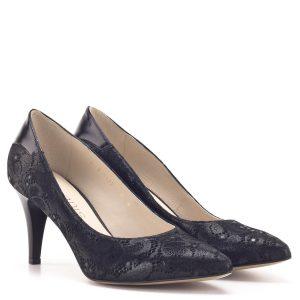 Anis női alkalmi cipő fekete színben, szatén hatású bőrből