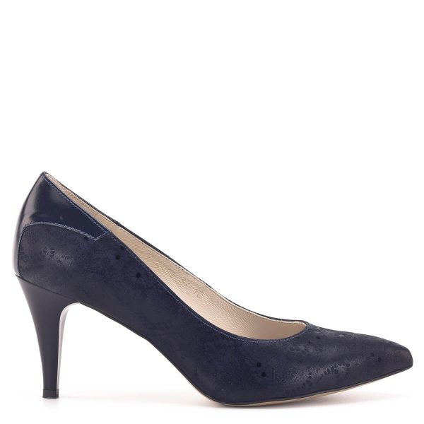 Anis női alkalmi cipő sötétkék színben, 7,5 centis sarokkal
