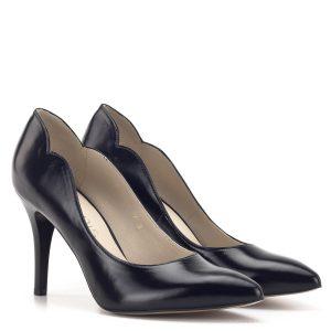 """Fekete Anis alkalmi magassarkú cipő """"hullámos"""" szabásvonallal"""
