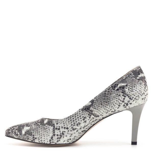 Kígyómintás Anis cipő szürke színben, 7,5 cm magas sarokkal
