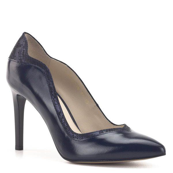Sötétkék Anis cipő 9 cm magas sarokkal. Elegáns magassarkú bőr cipő