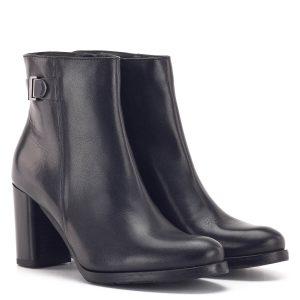 Magas sarkú fekete Bioeco bokacsizma 7,5 cm-es sarokkal, bőr