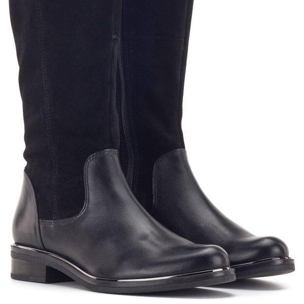Velúr szárú lapos Caprice csizma fekete színben