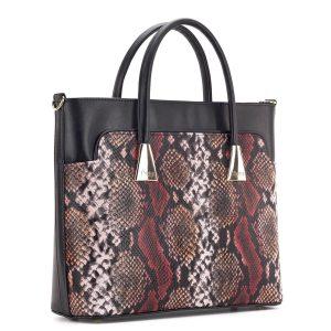 Bordó - barna kígyómintás Prestige táska nagy belső térrel