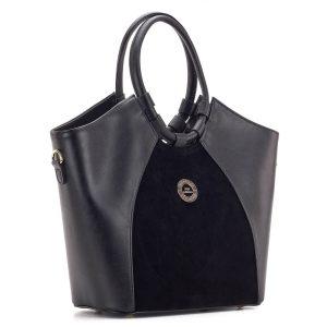 Fekete Prestige táska velúr betéttel, nagy belső térrel