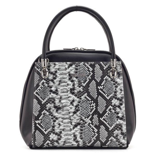 Prestige női táska szürke kígyómintával, fém részei ezüst színűek