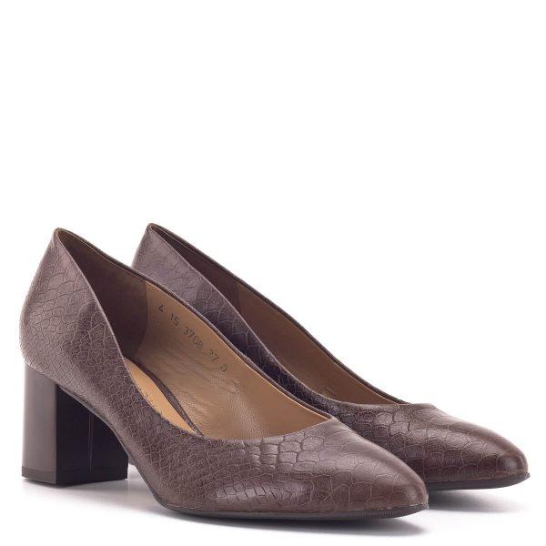 Barna Anis cipő 6 cm-es stabil sarokkal. Bőr cipő bőr béléssel