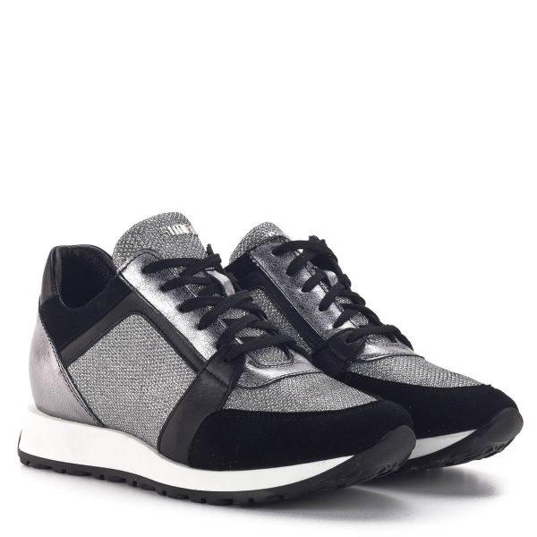 SIMEN sneakers cipő fekete-ezüst színben. Divatos fűzős női tornacipő 1