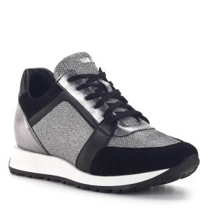 SIMEN sneakers cipő fekete-ezüst színben. Divatos fűzős női tornacipő 2