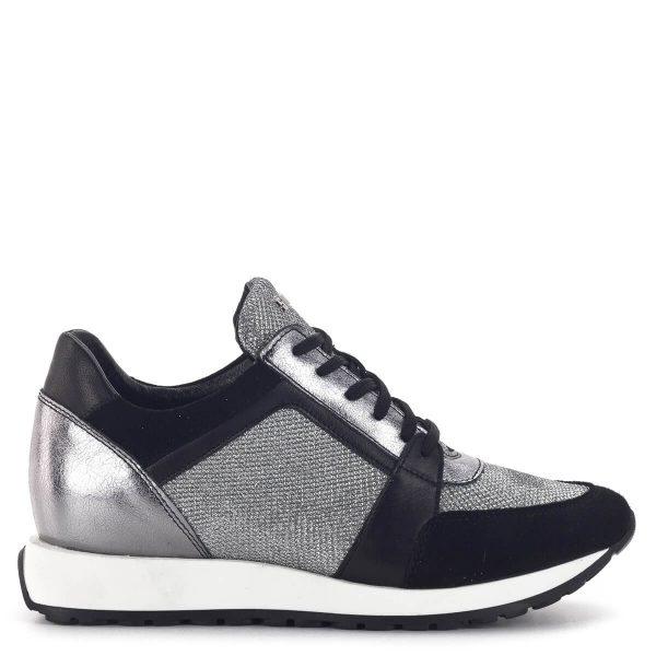 SIMEN sneakers cipő fekete-ezüst színben. Divatos fűzős női tornacipő 3