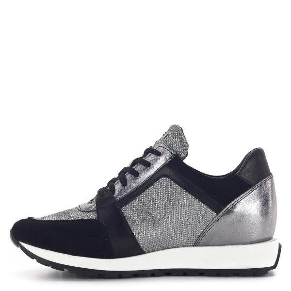 SIMEN sneakers cipő fekete-ezüst színben. Divatos fűzős női tornacipő 4