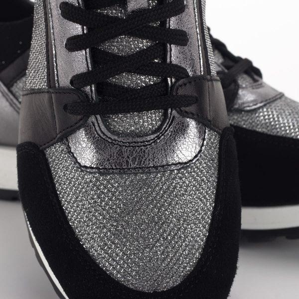 SIMEN sneakers cipő fekete-ezüst színben. Divatos fűzős női tornacipő 6