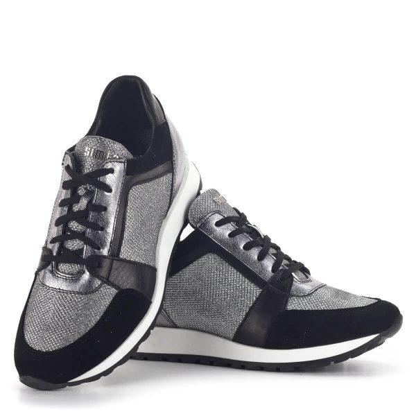 SIMEN sneakers cipő fekete-ezüst színben. Divatos fűzős női tornacipő 7
