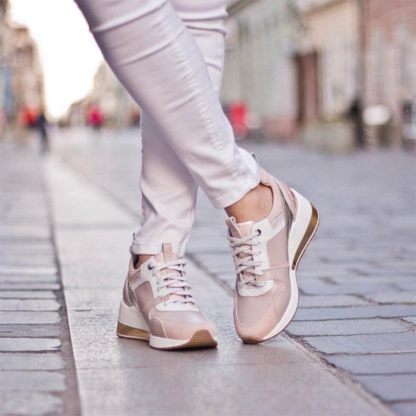 Carla Ricci női sneakers cipő platformos talppal, rózsaszín 10