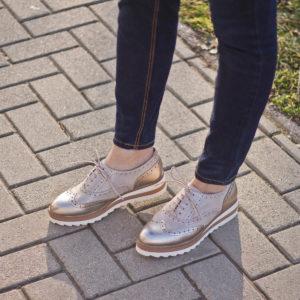 Tamaris Oxford cipő pezsgő színben, platformos talppal - 1-23717-24 192 10