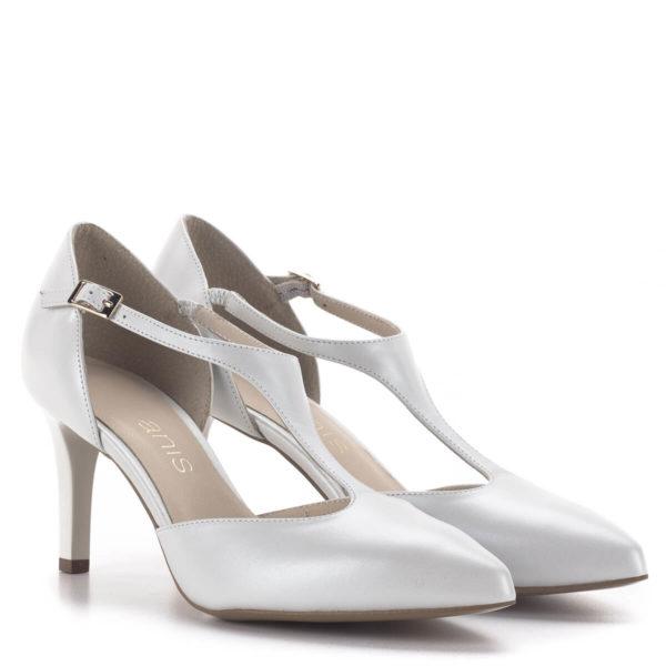 T pántos Anis magassarkú alkalmi cipő gyöngyházfehér színben, 7,5 cm - Anis 4798 PERLA 4 1