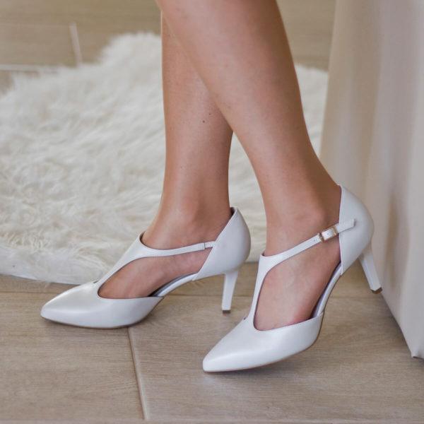 T pántos Anis magassarkú alkalmi cipő gyöngyházfehér színben, 7,5 cm - Anis 4798 PERLA 4