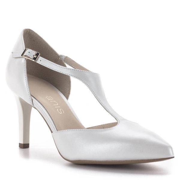 T pántos Anis magassarkú alkalmi cipő gyöngyházfehér színben, 7,5 cm - Anis 4798 PERLA 4 2