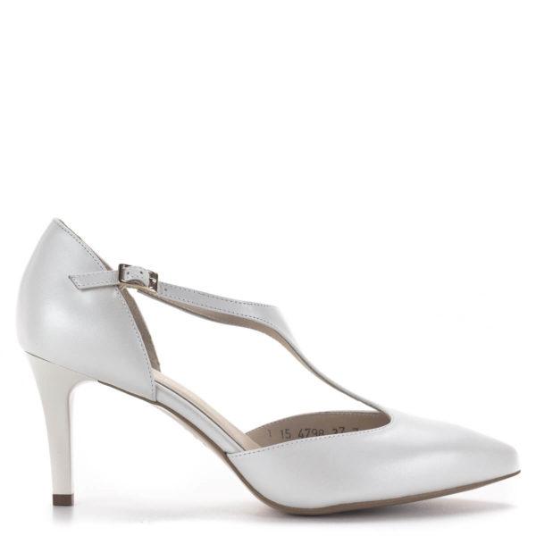 T pántos Anis magassarkú alkalmi cipő gyöngyházfehér színben, 7,5 cm - Anis 4798 PERLA 4 3