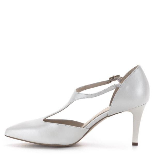 T pántos Anis magassarkú alkalmi cipő gyöngyházfehér színben, 7,5 cm - Anis 4798 PERLA 4 4