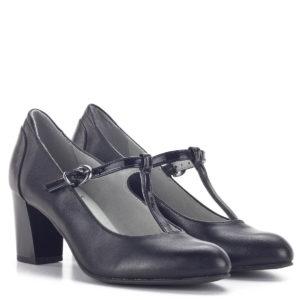 Fekete Pántos Jana magassarkú női cipő - Jana 8-24492-24 022 1