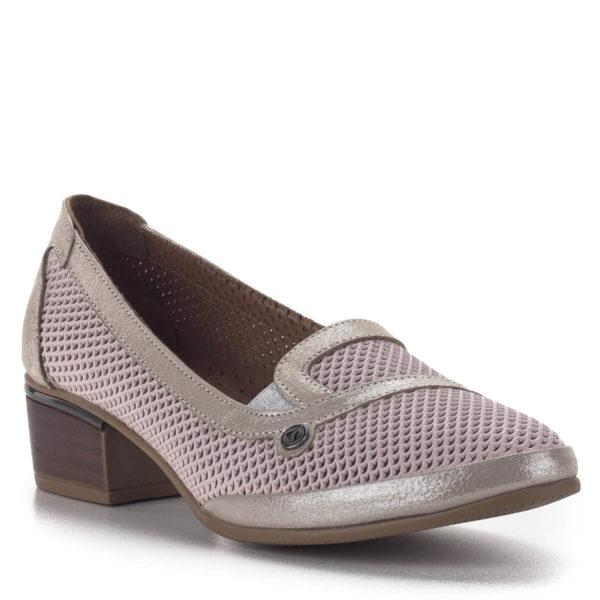 Anna Viotti komfort női cipő 4 cm-es sarokkal rózsaszín-arany színben 2