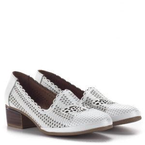 Női komfort cipő 4 cm-es sarokkal, fehér vágott mintás felsőrésszel 1