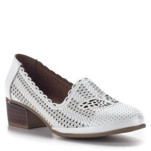 Női komfort cipő 4 cm-es sarokkal, fehér vágott mintás felsőrésszel 2