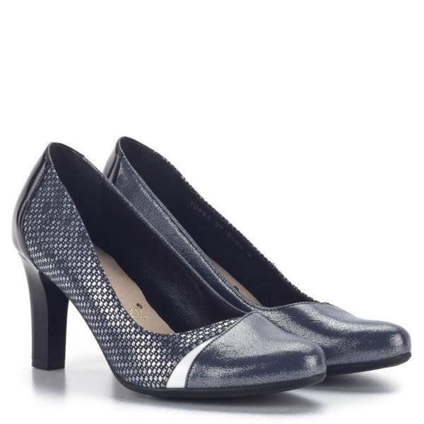 Kék Bioeco cipő 8 cm-es sarokkal, ezüst részekkel díszítve 1