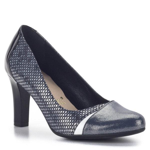 Kék Bioeco cipő 8 cm-es sarokkal, ezüst részekkel díszítve 2