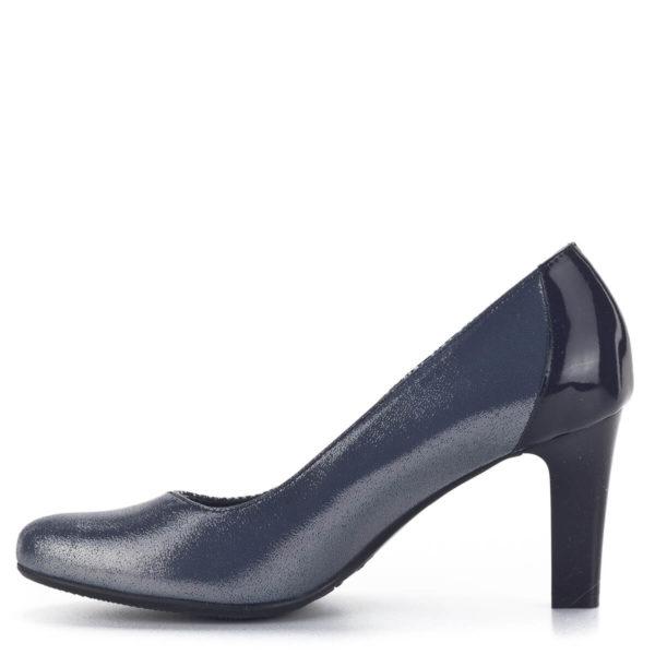 Kék Bioeco cipő 8 cm-es sarokkal, ezüst részekkel díszítve 4