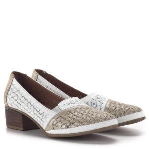 Kis sarkú komfort női cipő nyomott virágmintás bőrből, puha béléssel