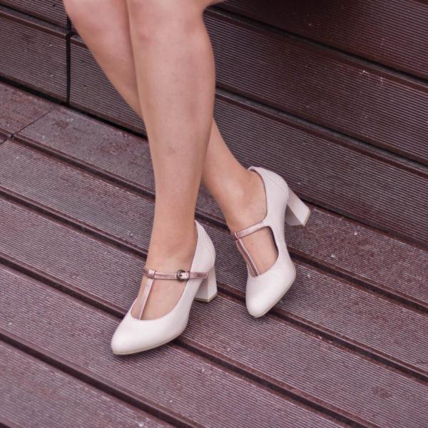 Pántos Jana magassarkú cipő bézs színben - Jana 8-24492-24 521 10