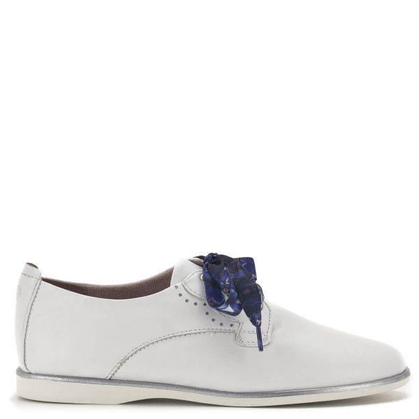 Fehér fűzős Tamaris női cipő lapos talppal, kétféle fűzővel - Tamaris 1-23219-24 100 3