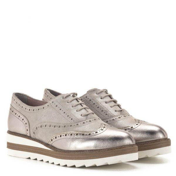 Tamaris Oxford cipő pezsgő színben, platformos talppal - 1-23717-24 192 1