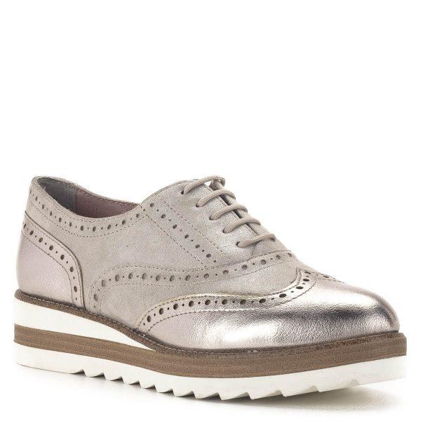 Tamaris Oxford cipő pezsgő színben, platformos talppal - 1-23717-24 192 2