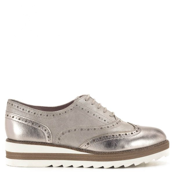Tamaris Oxford cipő pezsgő színben, platformos talppal - 1-23717-24 192 3
