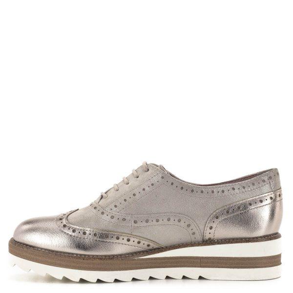 Tamaris Oxford cipő pezsgő színben, platformos talppal - 1-23717-24 192 4