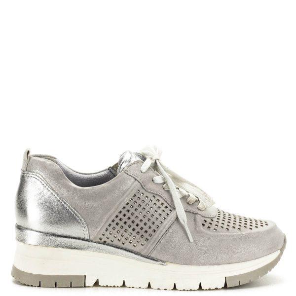 Tamaris sneakers ezüst színben, lyukacsos felsőrésszel - 1-23745-24 961 3