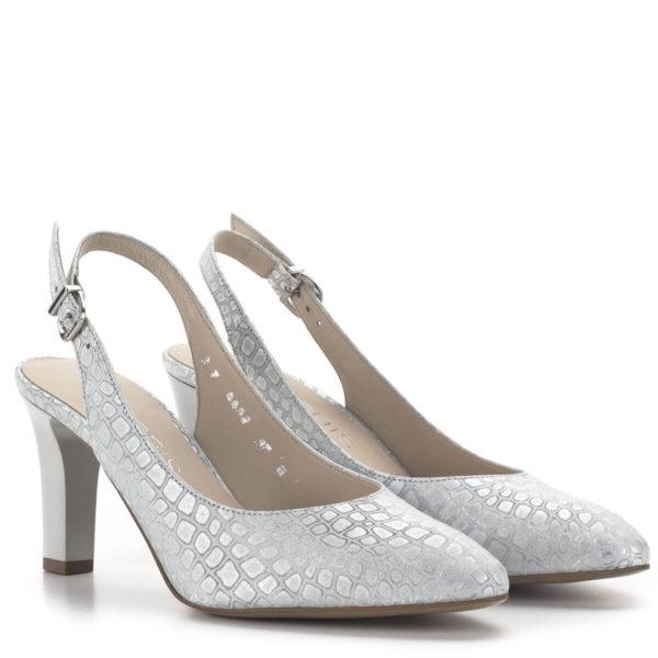 Anis magassarkú elegáns alkalmi szandálcipő ezüst színben 1
